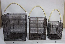 Square Woven Lantern Rope Handle Lantern candle lantern in iron wire Set of 3 Votive