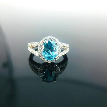 925 Sterling Silver Natual Blue Zircon Women Engagement Ring Fine Wedding Gemstone Jewelry Oval Shape