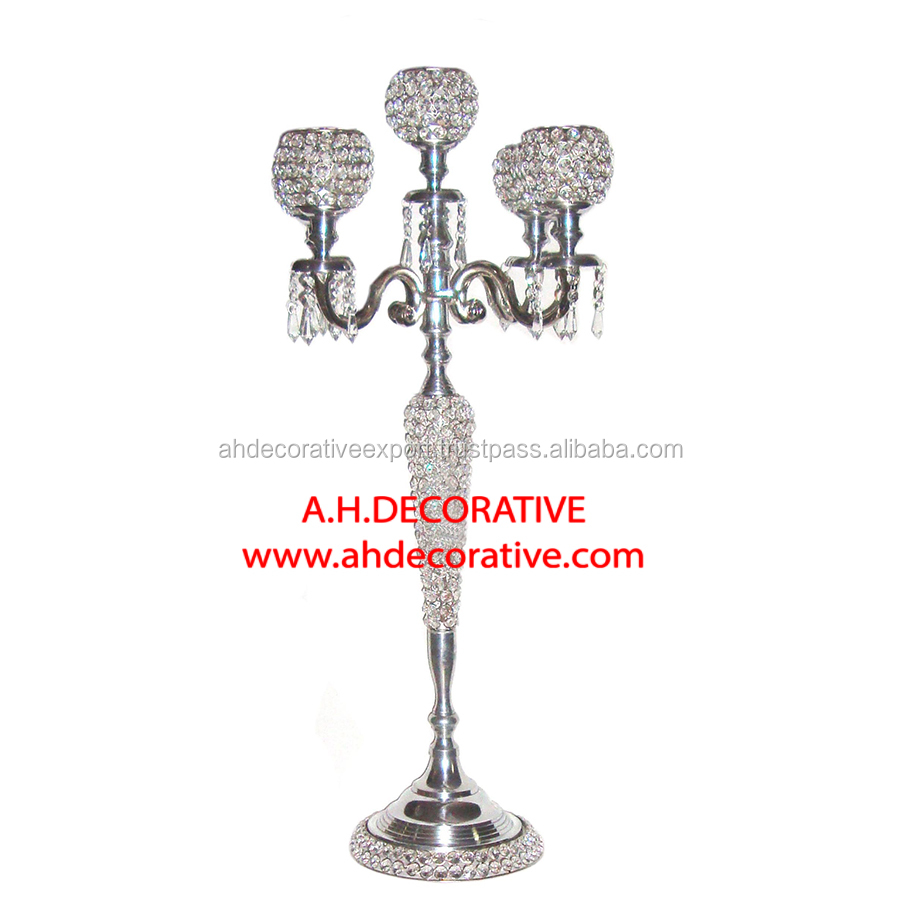 Candelabra 5 Candle With Crystal Globe Built In T-Light Cup