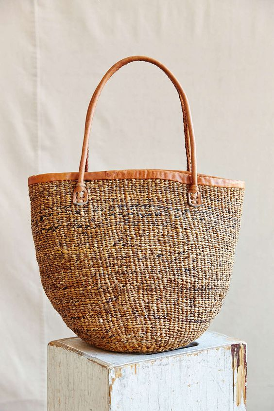 KIONDO AFRICA KENYA GIKUYU SISAL LEATHER WOVEN BAG