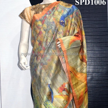 Digital print handwoven tassar silk saree