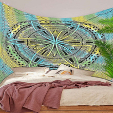 Indian Handmade Mandala Wall Tapestry Pure Cotton Queen Size Multi Colour Tye Dye Hippie Bohemian Wall Hangings Wheel Of Life