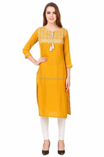 Stylish tail cut pattern simple plain kurti design with lace at lowest price 2017 women fashion