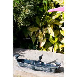 Cast Iron Bird Bath Bowl with Beautiful Birds | Antique Bird Bath | Metal Bird Bath