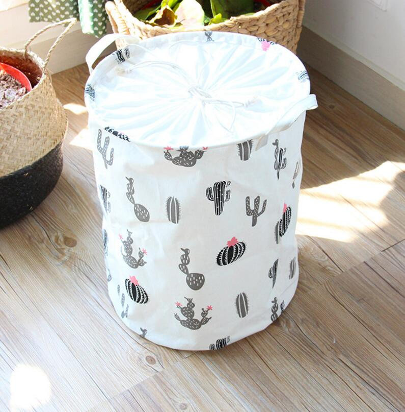 Cartoon lovely clothes laundry cotton linen storage hamper baskets