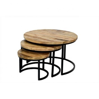 Coffee Table Set of 3 Industrial Vintage Design