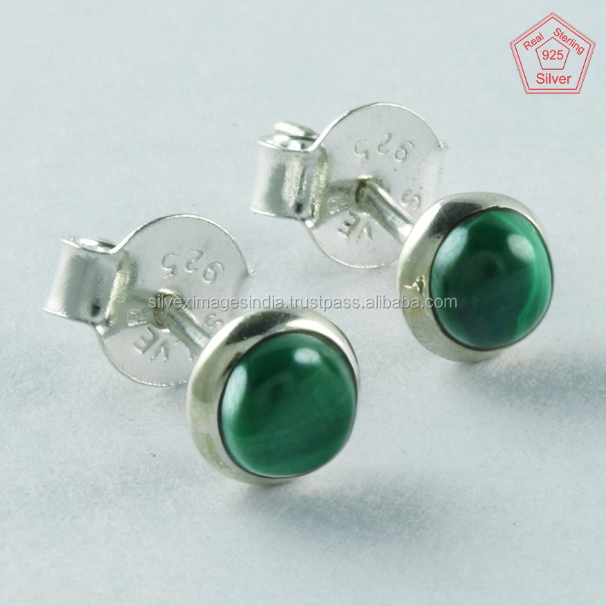 92.5 Small Studs, Malachite Stone 925 Handmade Silver Earrings Wholesaler India