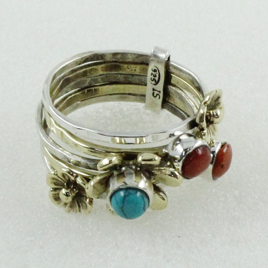 Pretty Coral & Turquoise Gem Stone 925 Sterling Silver Handmade Stackable Ring Jewelry