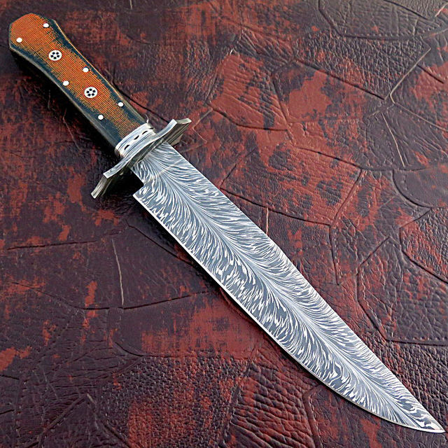 Custom Made Damascus Bowie Knife With Beautiful Pattern.
