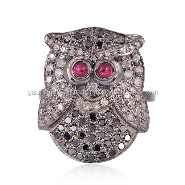 Handmade Ruby Diamond 925 Sterling Silver Owl Design Midi Ring Jewelry