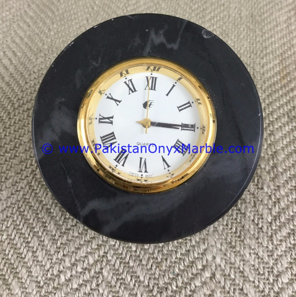 MARBLE CLOCKS DESK ROUND SHAPE HANDCARVED NATURAL STONE
