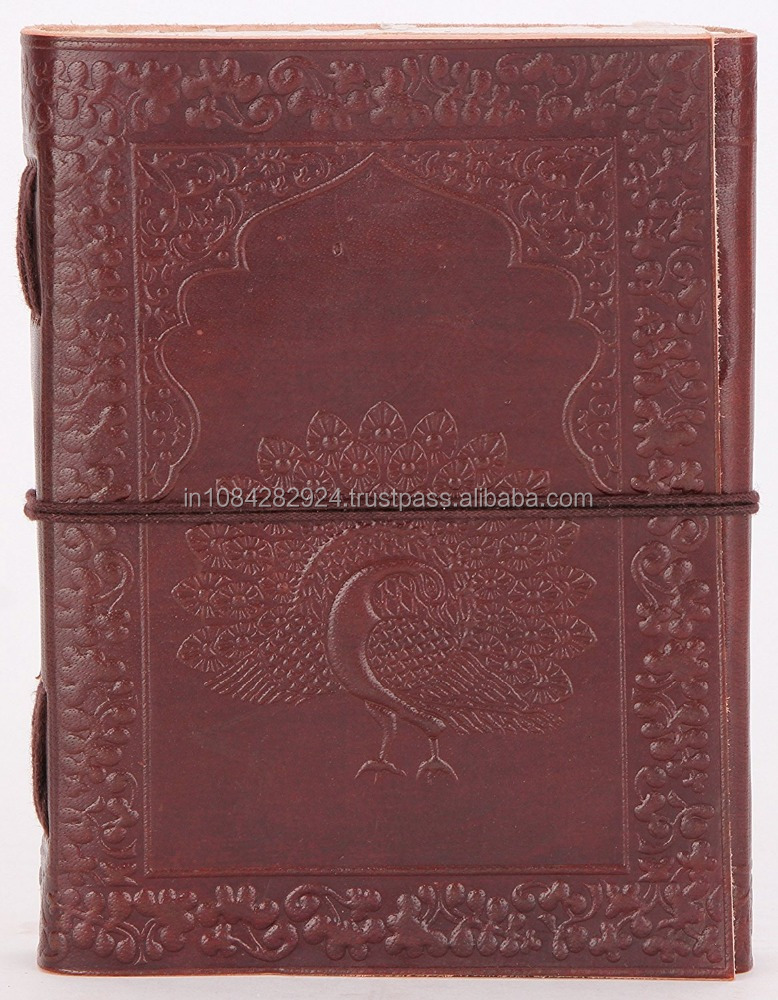 Peacock Embossed Handmade Leather Journal Handbook