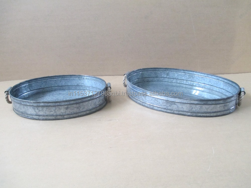 Galvanized tray with Rope handle