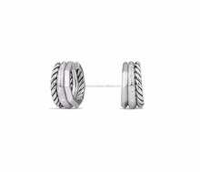 Rhodium Plated CZ Studded Twisted Huggie Hoop Earring