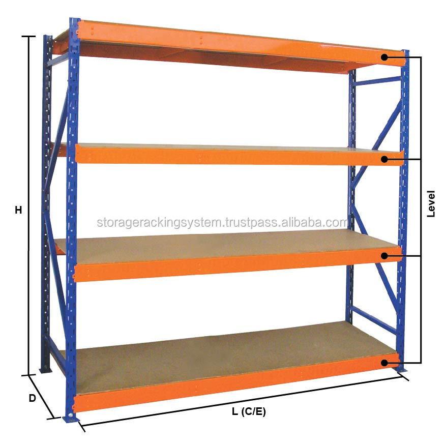Orange & Blue Color Adjustable Shelve Metal Storage Rack Ideal longspan shelving racking systems warehouse storage system