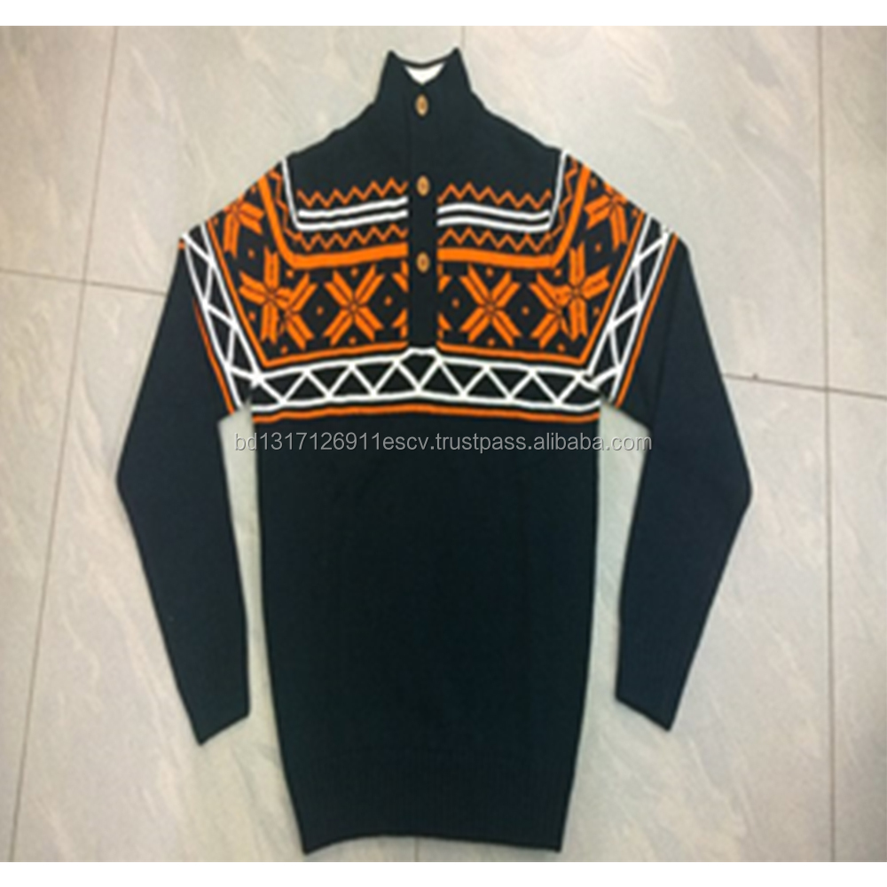 High Neck Jacquard Chest print MEN'S SWEATER