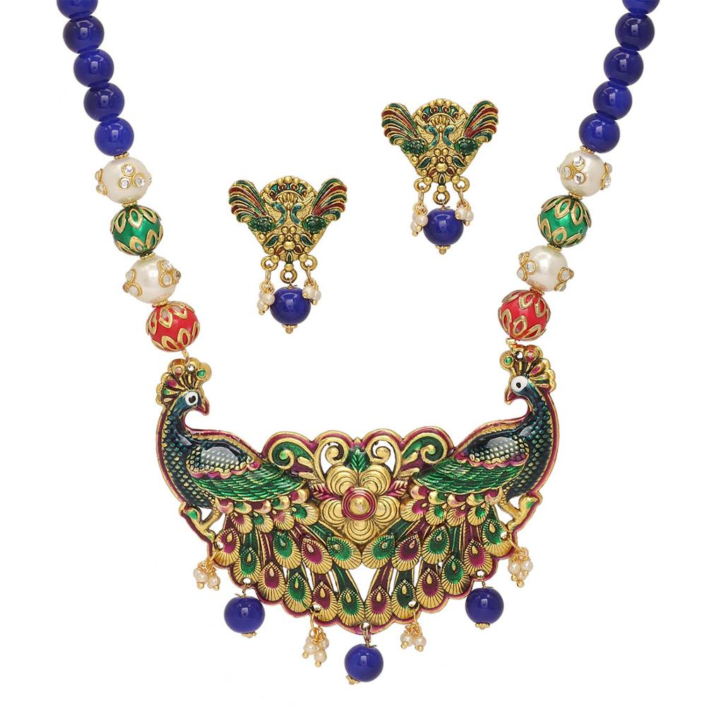 Jaipur Mart Gold Plated Multi Color Colored Glass Stone, Color Beads, Pearl Necklace With Earrings