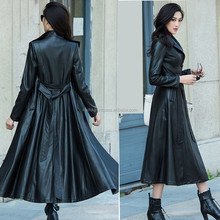 Ladies leather long coat