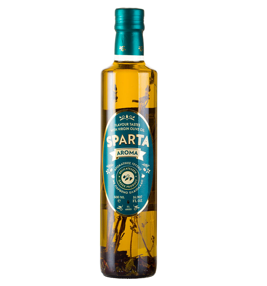 Sparta Aroma - Greek Aromatic Virgin Olive Oil / Glass Bottle 500ml