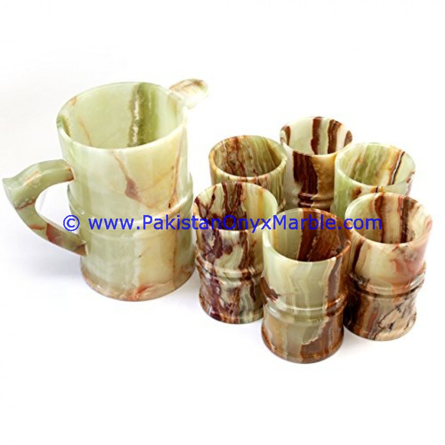 Customizable EXPORT QUALITY STYLISH ONYX WATER SET JUG GLASSES PITCHER