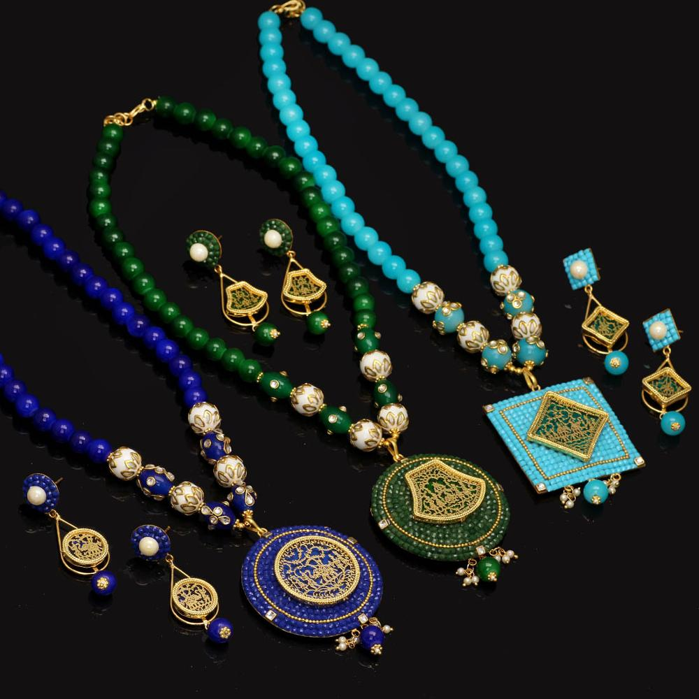 Jaipur Mart Gold Plated Aqua,Blue,Green Color Colored Glass Stone, Color Beads, Pearl Necklace With Earrings Combo Of 3 Pieces