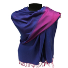 Wholesale Two Side Reversible Blue Pink Plain Pashmina Shawl Stole Wrap Scarf