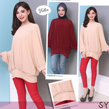 Super Jumbo Batwing Sleeve Shirred Plain Blouse Polyester Spandex Made In Indonesia By Stanley & Yuly