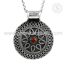 Bridal jewelry coral gemstone silver pendant 925 sterling silver pendant jaipur jewellery supplier