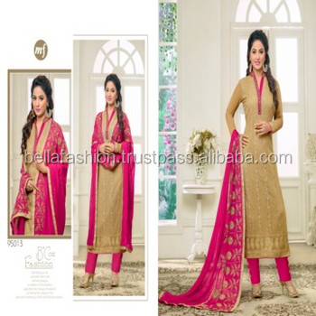 Beautiful Woman Wear Embroidery Designer Fancy Straight Suits