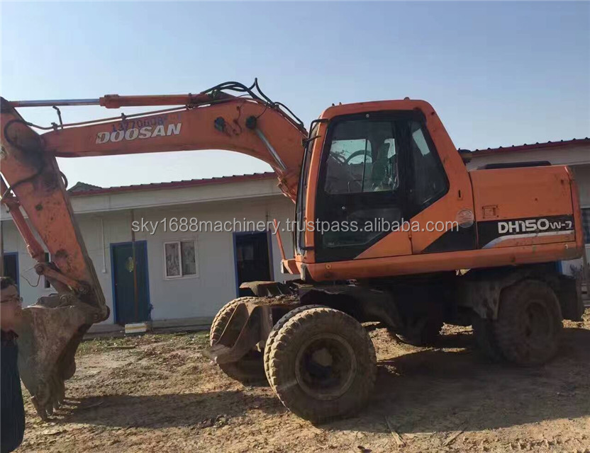Used doosan dh150w-5/130w-5/140w-7 wheel excavator for sale/secondhand doosan/daewoo wheel excavator