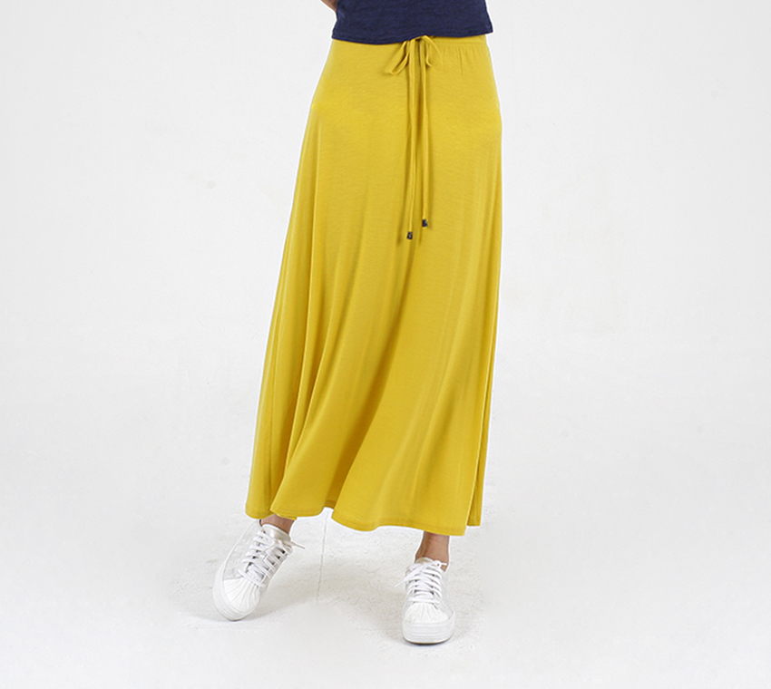 Super quality women maxi style casual tensel big expansion hem spring summer autumn fashion high Waist long skirt