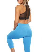 Blue And Black Contrast Fitness Jogging Wear/Hot Sexy Running Yoga Legging Bra