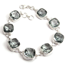 Wholesale Gemstone Black Rutile 925 Sterling Silver Bracelet, Silver Jewelry Supplier, 925 Sterling Silver Jewellery