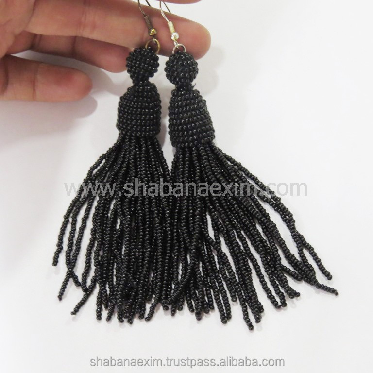 Long dangle earring wholesale tassel earrings Indian beaded jhumka