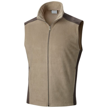 Beige Filament Fleece Sleeveless Zipper Up Jackets with Brown Panels for Men 2019
