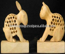 decorative animal crafts carved wooden rabbit cat