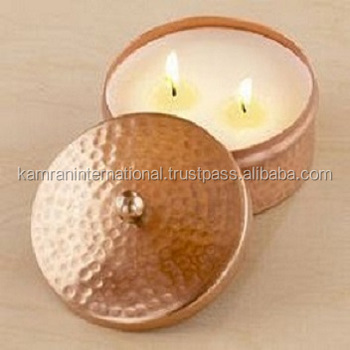 100% COPPER HAMMERED FINISH CANDLE JAR, FANCY COPPER CANDLE CONTAINER