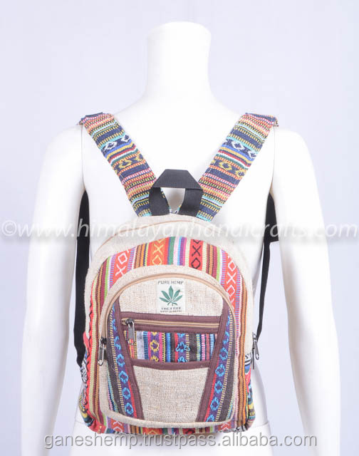 Multi color Aztec pattern cotton Canvas small and medium hemp backpack HBBH 0071