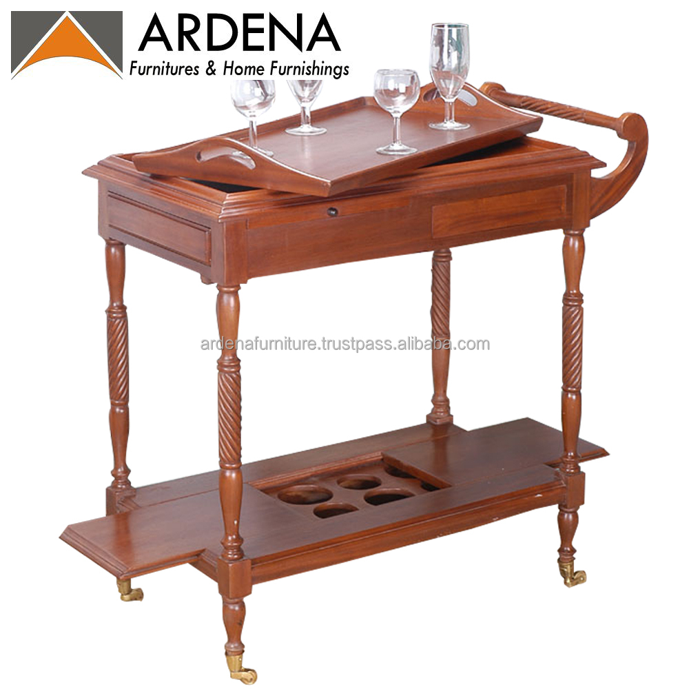 Newest French Hotel wine rack trolly cart furniture with wooden teak for kitchen equipment set or banquet wedding event