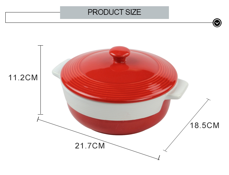 Popular double handles ceramic round shape baking pan with cover