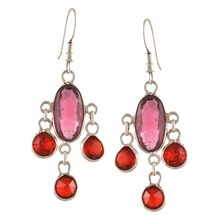 Ornamenta Fashion Silver Tone Lightweight Hook Beaded Earrings with Glass Beads
