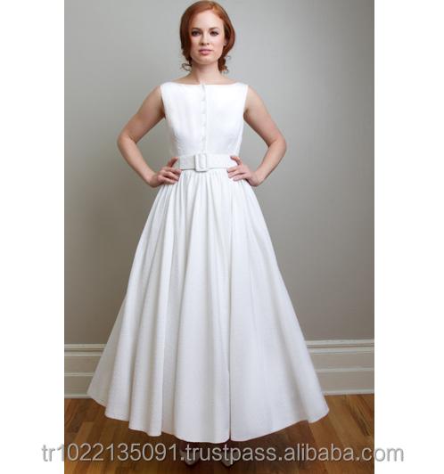 Vintage inspired sleeveless shirt style satin taffeta full circle skirt poliester fabric elegant luxury wedding dress