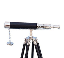 Hampton Nautical Chrome - Leather Black Harbor Master Telescope CHTEL6035