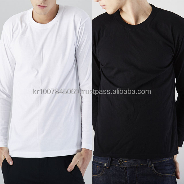 Long-sleeve Wholesale Cotton High Quality Unisex T Shirt Solid Round neck t-shirt tee