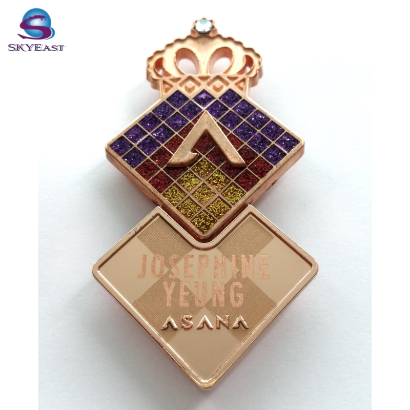 Crown Laser Name Golden 3D Logo Enamel Glitter Metal Magnet Badges