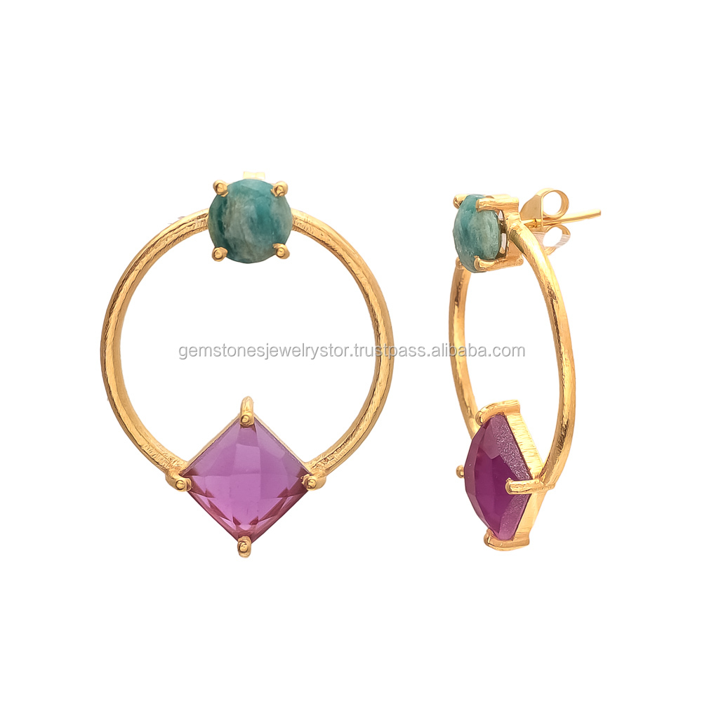 Fashion new latest gold earring designs ear ring with round Amzonite and Pink Tourmaline Gemstone