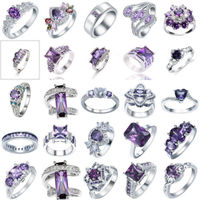 925 Sterling Silver Amethyst Rings Marriage Jewelry For Women Size 6-10 Fashion