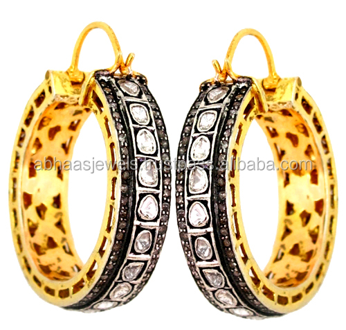 925 Silver Victorian Style 14k Yellow Gold Rose Cut Diamond Earrings Hoop