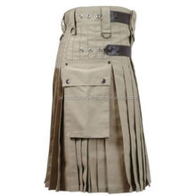 Scottish Stylish Utility Cotton Leather Kilt Multi Colour Handmade embroidered Work Highly customised