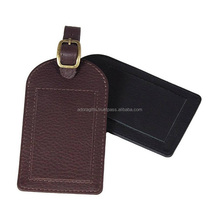 Leather Luggage Tag With Buckle Belt Strap / Promotional Name Tag